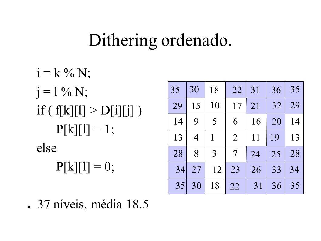 Dithering ordenado. i = k % N; j = l % N; if ( f[k][l] > D[i][j] )